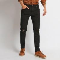 VENGOZ Celana Jeans Skinny Pria - Black Ripped