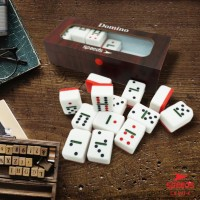 DOMINO BATU WARNA SPEEDS + BOX KAYU COKLAT TEBAL ORIGINAL LX047-4