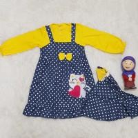Baju Gamis Muslim Anak Bayi Perempuan Set Jilbab Semi Overall Polkadot