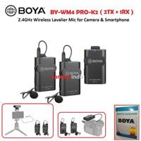 MIC BOYA BY-WM4 PRO KI K2 Wireless clip on smartphone dan kamera vlog