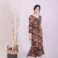 Long Dress/Maxi/Gamis Hazel Wanita Ruffle Bunga Coklat Allsize Premium
