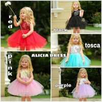 BAJUKIDDIE ALICIA DRESS anak perempuan gaun pesta birthday ulang tahun - Sz 80, Alicia Red