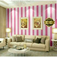 Home Wallpaper Sticker Dinding Motif Salur Pink - 45cm x 10 m