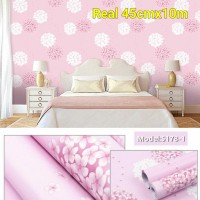 Home Wallpaper Sticker Dinding Motif Dendelion Pink - 45cm x 10 m