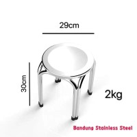 Bangku pendek Kursi stainless baso bulat stainless steel 30cm murah