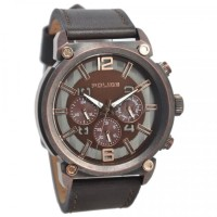 POLICE MENS CONCEPT BROWN LEATHER STRAP 14378JSQBZ/12