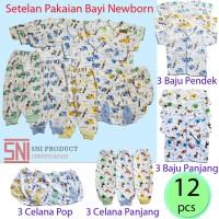 6 pasang/12 pcs Paket Murah Baju Bayi Baru Lahir Newborn Kualitas SNI