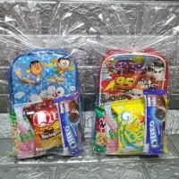 Paket souvenir ulang tahun tas selempang anak dan snack