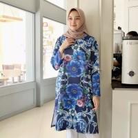 Tunik Navy Motif Floral / Dress Moana / Bahan Scuba