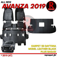 AVANZA 2019 AT KARPET 5D DAYTONA MODEL LEATHER BLACK PLUS BAGASI
