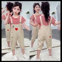 Setelan Jumpsuit Anak Perempuan Red Lines Heart Import (ZH-DGP055)