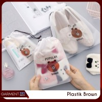 Travel Pouch Organizer Serbaguna Tas Serut Make Up Brown Impor 25x18
