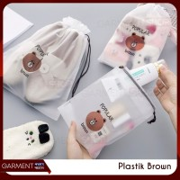 Travel Pouch Organizer Serbaguna Tas Serut Make Up Brown Impor 20x16