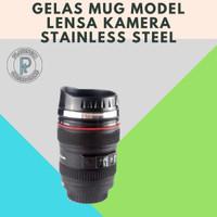 Mug Gelas Cup Lensa Kamera Cup Lens Stainless Steel Gelas Kopi Teh