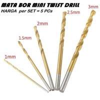 ST MATA BOR MINI SET 5 PCs 1-3mm Titanium Coated HSS Twist Drill PCB