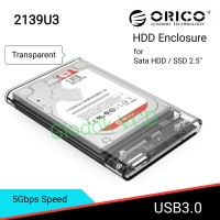 "Orico Hard disk Case / Casing HDD Enclosure Sata 2.5"" 2139U3 Trans"