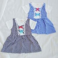 Dress anak perempuan IMPORT lengan pendek umur 2-4 tahun motif Kotak