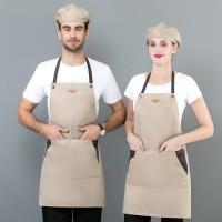 APRON BARISTA CAFE CANVAS HITAM KHAKI- CELEMEK APRON KOMBINASI