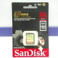 SD Card SDXC Extreme Sandisk 64GB 150MBPs V30 4K UHD ORIGINAL