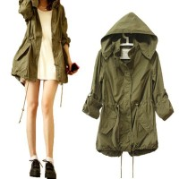 Army Green Military Parka Trench Hooded Coat Jacket