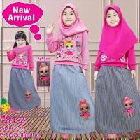 Baju Muslim Anak Little Pineapple LOL Pink Rok Katun Garis LED