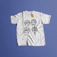 K/121 Kaos Band The Beatles John Lennon ringo star mccartney T-Shirt - Putih, S