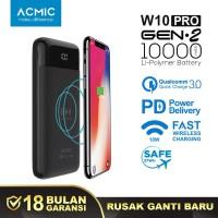 ACMIC W10PRO Gen2 10000mAh Fast Wireless Charge Power Bank QC 3.0 + PD