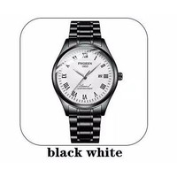 Jam Tangan Pria FNGEEN Mirror Auto-hollow Fashion Machinery Calendar - Black White