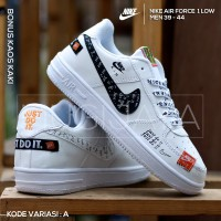 SEPATU NIKE AIR FORCE 1 ONE LOW FULL WHITE JUST DO IT PRIA