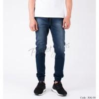 Celana Jogger Pants Bahan Jeans Model Chino Joger Cowok Deep Blue