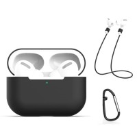 SS11912 - AIRPODS PRO CARABINER ANTI LOST ROPE SILICONE CASE BLACK