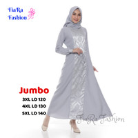 Gamis Jumbo - Baju Pesta - Wolycrep Mix Jacguard S - 5XL - Merah, S