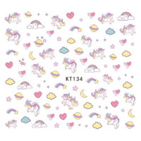 Pastel Color Unicorn Ultra Thin Nail Sticker Stiker Kuku Anak KT134