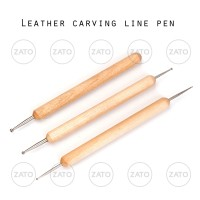 Leather carving line pen WOOD 3 pcs - leather tool