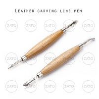 Leather carving line pen WOOD 2 pcs - leather tool