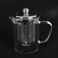 Glass tea pot metal mesh 350ml beaker coffee server kaca borosilicate