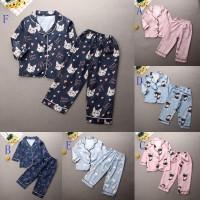 ღ♛ღ1-7years Kids Long Sleeve Satin Silk Pajamas Set Casual