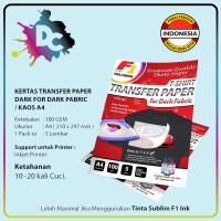 Kertas Transfer Paper Dark A4 F1 Ink for Dark Pabric