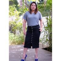 Rok Jeans Jumbo Wanita / Skirt Button Jumbo Black 5977 / PREMIUM