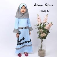 Gamis Syari Anak Perempuan Bordir Kembang Motif Bunga Set 3-6 tahun - 4, Biru Muda