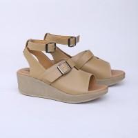 Sepatu Wedges 5 cm Cream Casual Real Pict Branded Catenzo DO 078