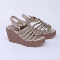 Sepatu Wedges 9 cm Cream Casual Real Pict Branded Catenzo KK 1724