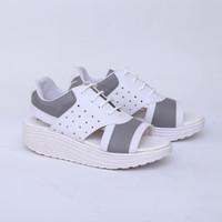 Sepatu Wedges 7 cm Putih Abu Casual Real Pict Branded Catenzo DO 0062