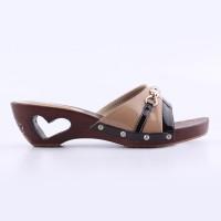 Sandal Heels 5 cm Coklat Cream Kayu Real Pict Branded Catenzo YT 055