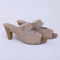 Sandal Heels 7 cm Cream Peep Toe Real Pict Branded Catenzo TY 033