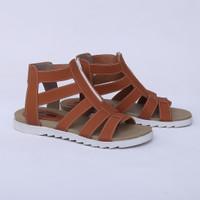 Sepatu Sandal Flat Gladiator Coklat Real Pict Branded Catenzo WI 535