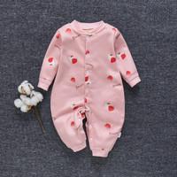 jumper Baby Unisex Baju Bayi Katun Jumpsuit Baju 0-2 tahun v01 - Merah Muda, 80CM