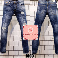 Celana panjang jeans GUESS PREMIUM navy ripped washed import branded