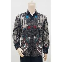 Kemeja Baju Seragam Pria Batik Lengan Panjang 2780 Abu BIG SIZE