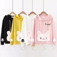 Sweater Hoodie Kucing Kaos Wanita Cewek Roundhand Imut Happy Cat 2 - Putih